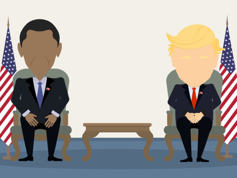 Cartoonized depiction of Presidents Obama and Trump