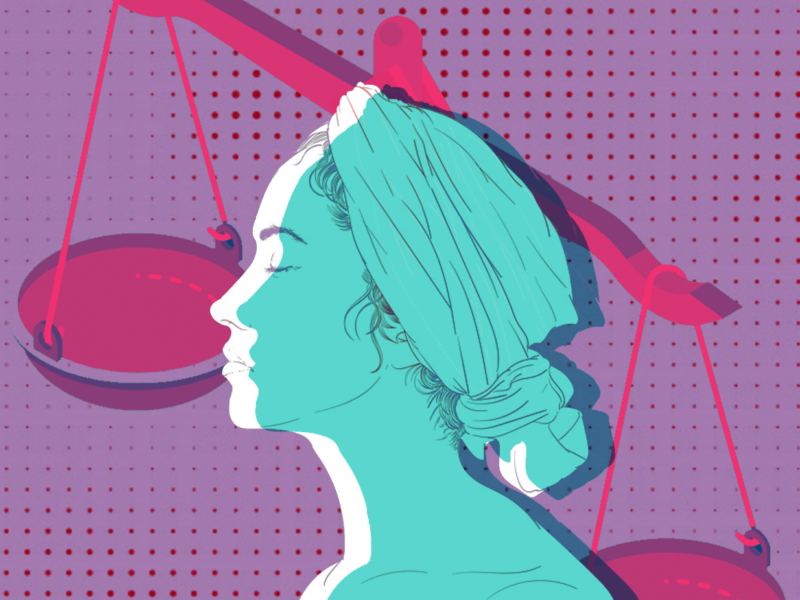 Graphic of a woman in front of the scales of justice