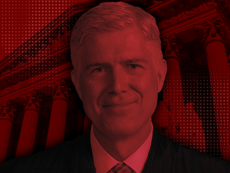 Edited photo of Neil Gorusch in front of the SCOTUS with a red overtone.